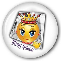 BLING QUEEN SMILEY FACE W/ CROWN - RED HAT PURSE MIRROR W/ ORGANZA BAG 3... - $7.91