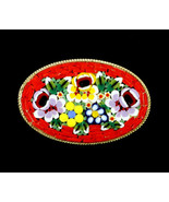 Vintage Micro Mosaic Millefiori Floral Flowers Coral Large Oval Pin Broo... - $71.98