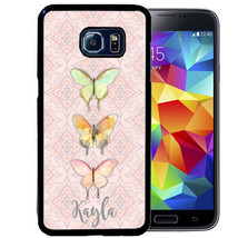 PERSONALIZED RUBBER CASE FOR SAMSUNG S9 S8 S7 S6 S5 PLUS THREE BUTTERFLI... - $13.98