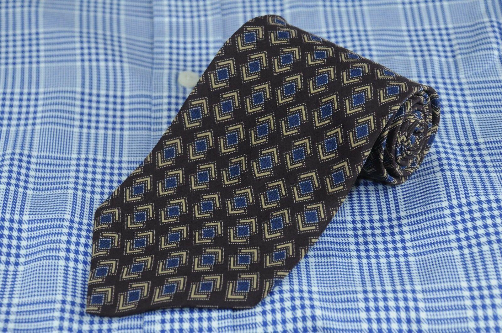 Kenneth Cole Men's Tie Eggplant Blue & Gold Printed Silk Necktie 56 x 4 in.