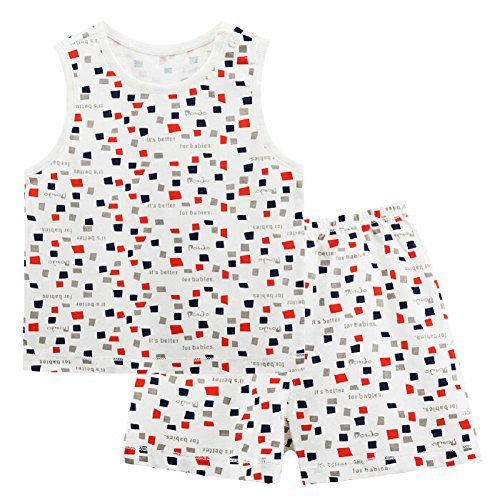 Baby Toddler Underwear Set Infant Vest&Shorts 2 Pieces Printing Red&Blue 3-6M