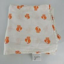 Aden + Anais Orange Owl Baby Blanket Muslin Swaddle White Orange - $19.75