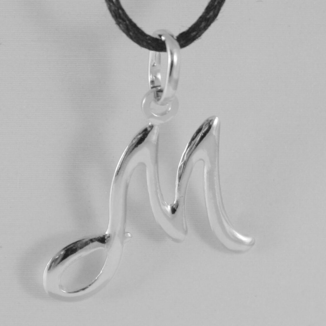 18K WHITE GOLD PENDANT CHARM INITIAL LETTER M, MADE IN ITALY 1.0 INCHES, 25 MM