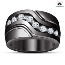 Black Gold Finish 925 Silver Men's Band Wedding Ring In Round Cut White ... - $93.11