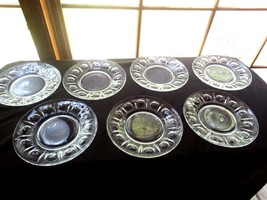 """7 Colony Glass Clear Pressed Glass """"Classique"""" Luncheon Plate Thumbprint Dot - $19.99"""