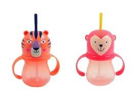 2 NEW Target TODDLER Straw SIPPY CUPS 9.5oz Pink MONKEY+Orange TIGER BPA... - $18.99