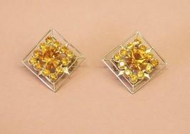 "2 Vintage Amber Rhinestone Pins Brooch Set 5/8"" sq Costume Jewelry gold ... - $7.60"