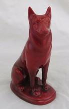 Zsolnay Eosin German Shepard Dog Figurine, Iridescent Red, Hungary - $64.35
