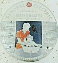 GENERAL ELECTRIC GE DELUXE WATER HEATER ANTIQUE COVER EMBLEM SIGN WALL H... - $133.65
