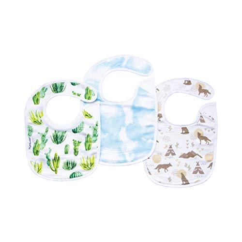Tiny Twinkle Feeder Bib 3 Pack - Cactus Cloud Set - Absorbent and Waterproof Bab