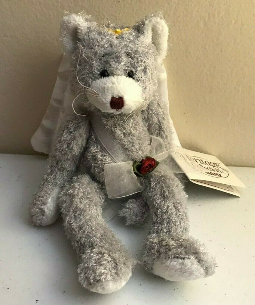 Scarce GANZ Heritage Collection PURRFECT CUPID Kitten Silver Gray Cat Plush SOFT image 5