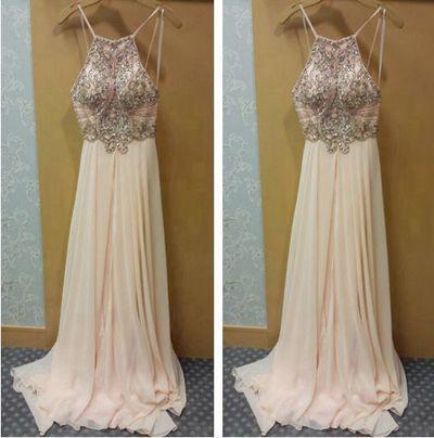 blush pink Prom Dresses,charming Prom Dress,long Prom dress,chiffon prom Dresses