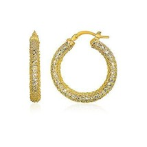 Womens Solid 14k Two-Tone Yellow and White Gold Sparkle Texture Hoop Earrings - $281.51