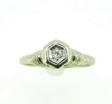 Art Deco 19k White Gold Filigree Genuine Natural Diamond Ring .08ct (#J964) - $295.00