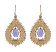 Women Nickle Free Brass Dangle Earrings Amethyst Gemstone Indian Ethnic ... - $12.34