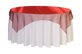 Your Chair Covers - 72 inch Square Organza Table Overlay Burgundy, Light... - $9.50