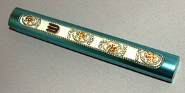Judaica Mezuzah Case Turquoise Gold Crystals Slim Closed Back Bling 10 cm Scroll image 2