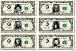 Halloween Horror Movie Pack - 6 Dollar Bills on Real Cash Money Collecti... - $39.95