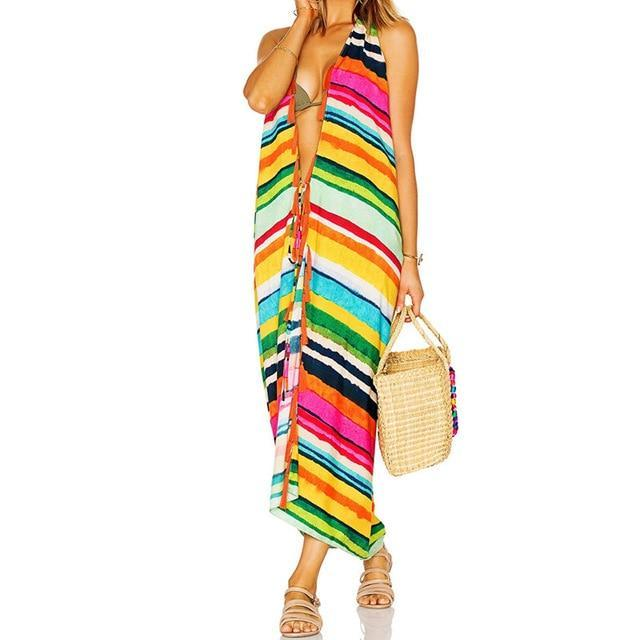 Bohemian Multicolored Striped Halter Neck Sleeveless Front Open Long Kimono Card
