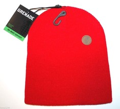 Grenade Thunder Dome Logo Ribbed Knit Winter Hat/Beanie/Toque  Red - £12.82 GBP