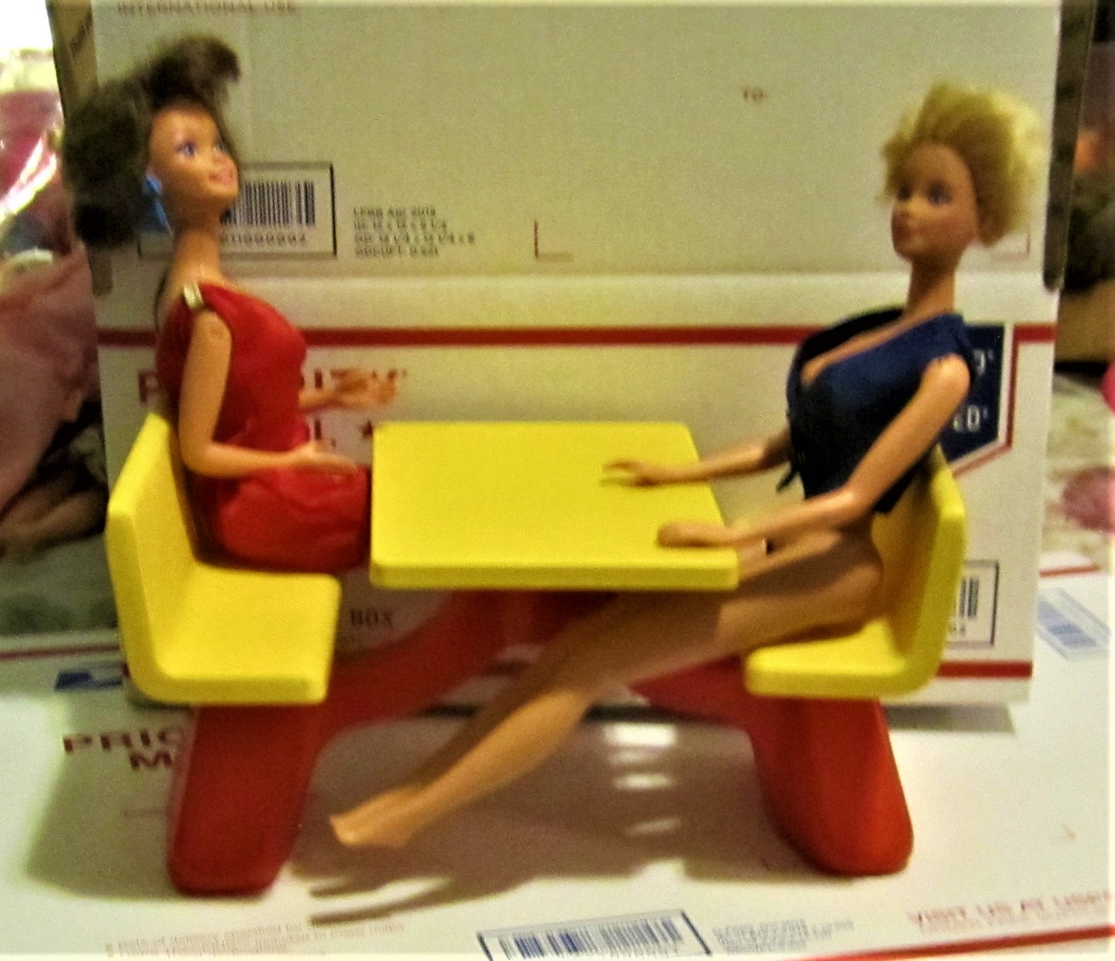 Primary image for Vintage 1982 MATTEL, BARBIE Loves McDonald's Table & Two Dolls