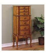 Oak Wooden Jewelry Armoire Storage Cabinet 5 Drawer Mirror Organizer Hin... - $250.37