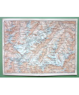 1896 MAP ORIGINAL Baedeker - AUSTRIA Alps Peaks of Weisskugel Wildspitze... - $4.73