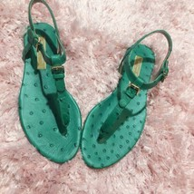 Michael Kors Foulard Womens Thong Sandals Flats Green Leather Size 36.5 ... - $93.55