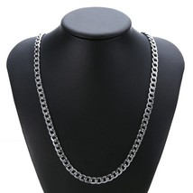 5/7mm Men Silver Chain Tone Stainless Steel Curb Cuban Link Necklace Jew... - $9.89+