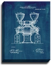 Combined Coffee Grinder And Cleaner Patent Print Midnight Blue on Canvas - $39.95+
