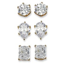 19.56 TCW CZ 3-Pair Set of Stud Earrings 18k Gold-Plated - $47.82