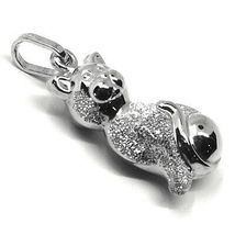 ROUNDED 18K WHITE GOLD CAT PENDANT, DOUBLE FACE, SMOOTH SATIN 22mm, 0.87 inches image 3