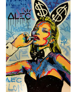 "Alec Monopoly Oil Painting on Canvas Graffiti art Kate Moss Rabbit 28x40"" - $14.35+"