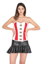 Red & White PVC Leather Gothic Steampunk Waist Training Overbust Corset Top - $78.57