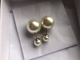 Auth Christian Dior Mise En Dior Tribales Double Pearl EARRINGS Classic Gold image 2