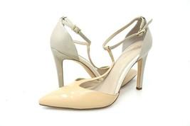 Calvin Klein Womens 8 Brandy T-Strap Pump Shoes Beige Buckle Slim Heels - $39.99