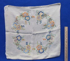 Vintage Linen Pillow Covering Tan w/ Embroidered Floral Design Blues Gol... - $15.83
