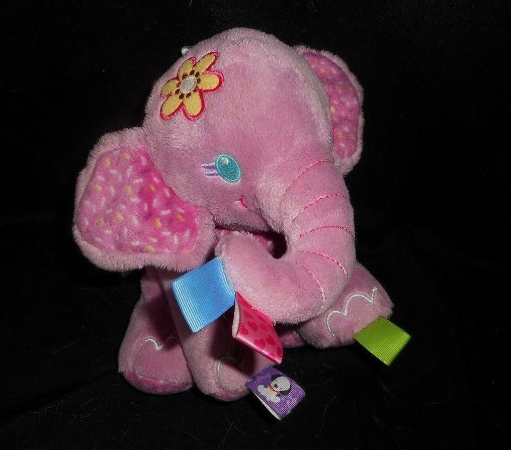 Primary image for TAGGIES BRIGHT STARTS PLAY PALS BABY PINK ELEPHANT RATTLE STUFFED ANIMAL PLUSH