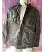 LEVI'S dark brown FAUX LEATHER SHERPA LINED JACKET COAT MEN'S Size. Small - $90.00