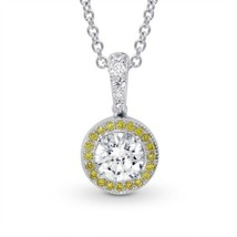 0.68Cts Colorless Diamond Halo Pendant Necklace Set in 18K White Yellow ... - $3,940.20