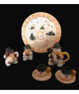 Christmas Doll Size Tea Set 10 Piece Snowman Decoration Resin Toy Tray 5... - $12.86