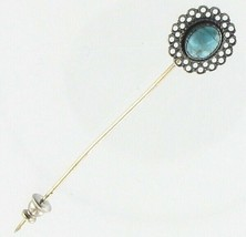 VINTAGE STERLING SILVER & POLISHED OVAL TURQUOISE FILIGREE FLORAL STICK PIN - $44.99
