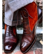 Men's ankle leather boots, Men two tone maroon suede and leather boot Me... - $169.99+