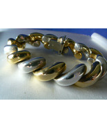 """Two Tone Gold Plate Sterling Silver 925 Italy Ribbed Bracelet 7.25""""L 1/2""""W - $118.80"""