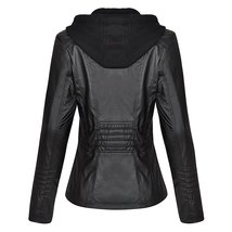 Women Biker Detachable Zipper Hoodie Slim Fit Motorcycle Faux Leather Jacket image 2