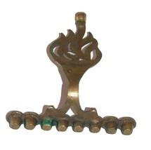 Judaica Small Candle Menorah Hanukkah Vintage Israel Brass Hen Holon Flame image 5