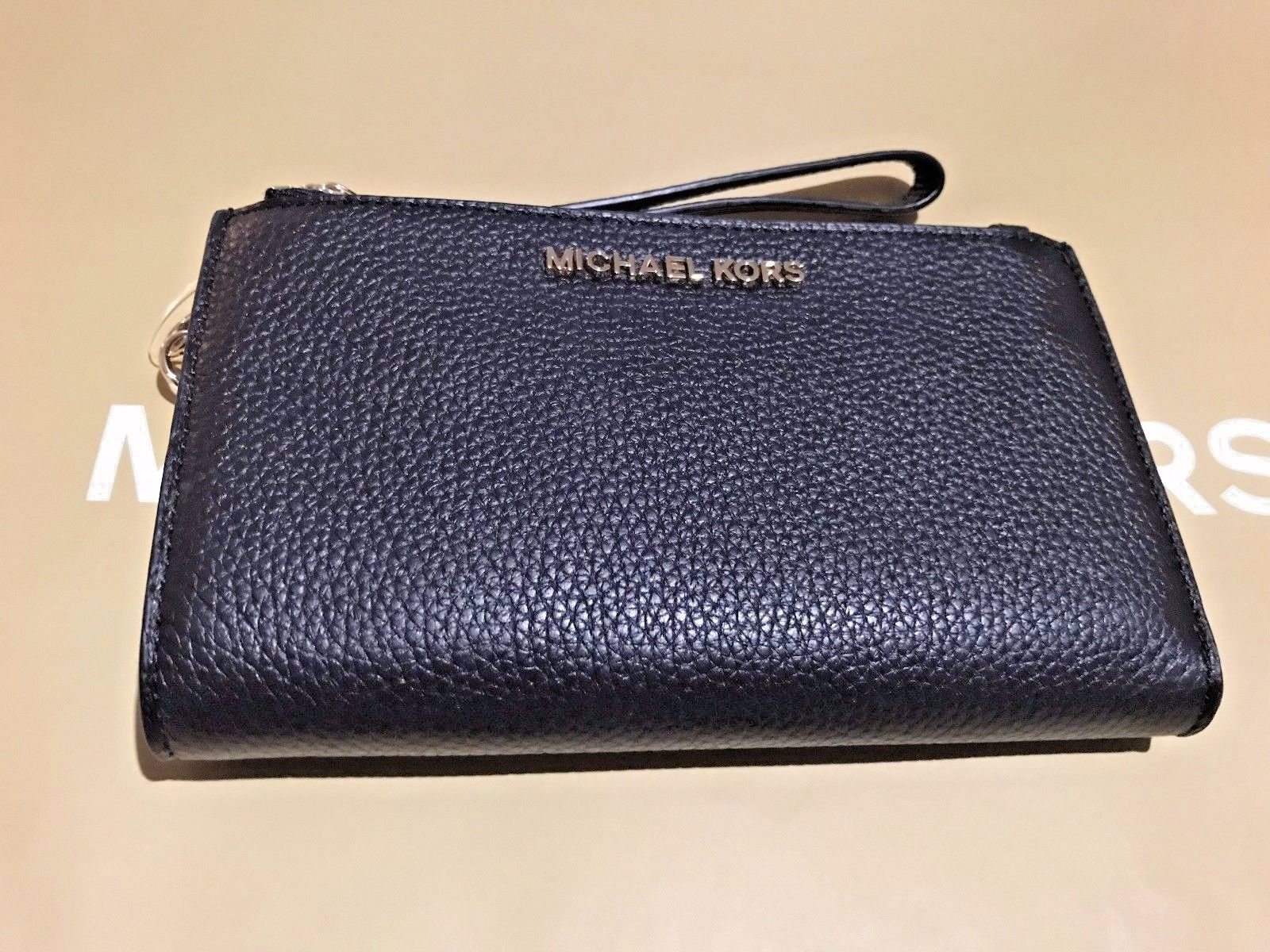 bf02b85c74c6 NWT Michael Kors Leather PVC Jet Set Travel Double Zip Wallet Wristlet 4  Colors