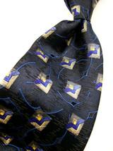 ROBERT TALBOTT  Blue Geo ABSTRACT GEM  Mens 100 SILK Necktie  9 3-6 - $17.99