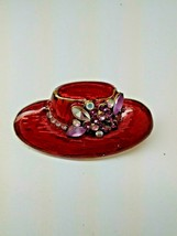 Red Hat Brooch Pin With Purple Rhinestones Red Hat Society Goldtone Back - $22.22