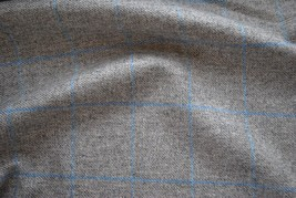 Tweed material by the metre in grey with light blue windowpane - gray fabric